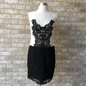 Nanette Lepore Black White Lace Dress Size 6